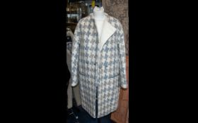 Jaegar Cream/Beige Checked Coat - Full length with leather buttons and piping to pockets. As new.