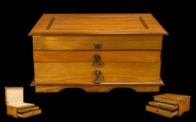 A Delux Teak - Wooden Well Made Collectors Cabinet with Twin Brass Handles From the 1980's.
