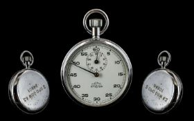 British Military Nero Lemania Stainless Steel Cased Stopwatch, Marked to Back Plate 2GPO-GGW63-