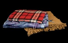 Collection of Cashmere Winter Scarves comprising a Lochmere 100% cashmere scarf in plaid shades of