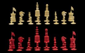 19thC Stained Bone Barleycorn Chess Set,