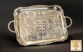 Large Decorative Silver Plated Tray.