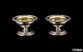 George III Very Fine Pair of Pedestal Shaped Silver Salts with Gilt Interiors. Hallmark London 1803.