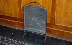 """Glass Mirrored Arts & Crafts Style Screen. Brass framed, measures 24"""" tall x 15"""" wide."""