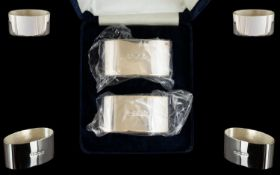 Elizabeth II Pair of Contemporary Sterling Silver Napkin Holders, In Original Wrappers and Display