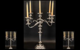 Large Silver Plated Four Branch 5 Light Candelabrum Moulded Scroll & Foliate Decoration Square