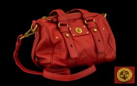 Marc Jacobs Handbag - Vermillion leather with double short and long handle. Original dust bag.