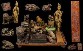 Chinese 19thC Superb Quality and Wonderful Hardstone and Horn Figural Calligraphy (seals) Set.