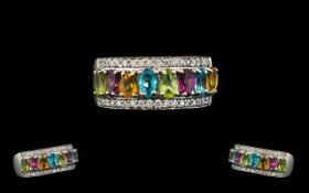 18ct White Gold - Superb Quality Rainbow Sapphire and Diamond Set Ring,