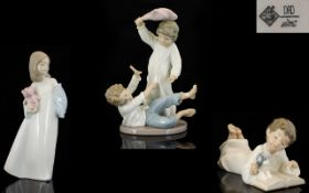 Nao by Lladro Trio of Young Children at