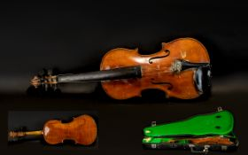 Violin in Case. Well used violin in bla