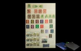 Two Stamp Albums and A4 Stock Book - ful