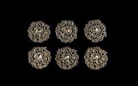 Art Nouveau Period Set of Six Silver Sty