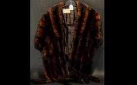 Dark Brown Mink Stole with Tails. Short