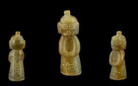 A Chinese Jadeite Stone Carved Figure. H
