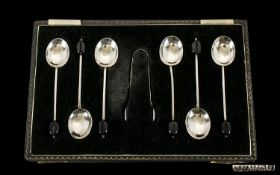 Boxed Set of Six Silver Coffee Spoons wi
