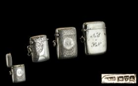 A Small Collection of Antique Period Sterling Silver Hinged Vesta Cases and Fully Hallmarked.