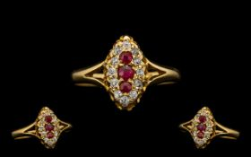 Antique Period 18ct Gold - Nice Quality Ruby & Diamond Set Marquise Shaped Dress Ring of pleasing