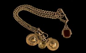 Antique Period - Pleasing 9ct Gold Double Albert with Attached 9ct Gold Fob, Medals and T-Bar. All