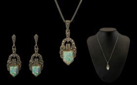 Art Nouveau Period 1880 - 1910 Attractive Silver Fire Opal and Marcasite Set Pendant and Matching