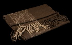 Dior Winter Scarf dark brown with fringing, 90% Murino wool and 10% cashmere. Logo along length,
