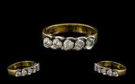 18ct Gold - Attractive and Pleasing 5 Stone Diamond Set Ring, The Five Round Modern Brilliant Cut