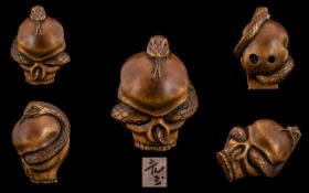Japanese Superb Quality - Signed Carved Boxwood Netsuke, Early Meiji Period 1864 - 1912 Depicts a