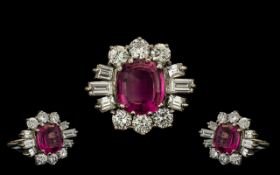 18ct White Gold - Superb Quality Pink Tourmaline and Diamond Set Cocktail Ring, The Faceted Pink