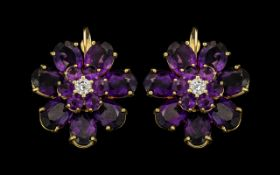 18ct Gold - Large and Impressive Pair of Flower head Design Amethysts and Diamond Set Earrings of