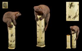 Japanese - Carved Bone / Ivory Novelty Cylindrical Column Shaped Scroll Holder with Pull off Base.