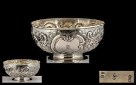Victorian Period Solid Silver Footed Bowl, with Embossed Floral Decoration to Sides. Hallmark London