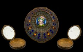 19th Century French Enamel Compact. Lovely 19th century decorated enamel compact, diameter 5.5 cm,