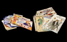 Collection of Vintage Sewing Patterns and vintage boxed embroidered handkerchiefs. Please see