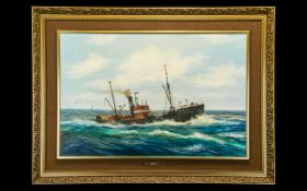 Keith Sutton 1924 - 1991 Fleetwood Trawler - H199 Lord Stanhope In Rough Seas - Oil on Board. Signed
