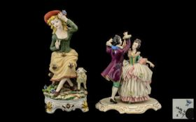 Dresden Lace Figure Group and Capo-di-Monte Seated Girl, the Dresden couple dancing, in 18thC dress,