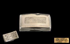 George III Silver Hinged Snuff Box with Gilt Interior of Good Form. Hallmark Birmingham 1811,