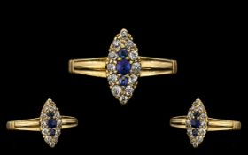 Antique Period Attractive 18ct Gold Marquise Shaped Sapphire & Diamond Set Dress Ring. Marked