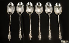 Edwardian Period Nice Quality Set of Six Sterling Silver Apostle Spoons, All with Barley Twist