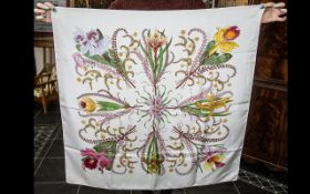 Gucci 1960/70s Vintage Large Silk Scarf. V Accornero silk scarf with cream ground and floral