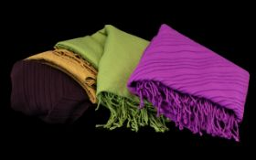 Collection of Winter Scarves by Viyella. Four in total, comprising camel, purple, fern green and