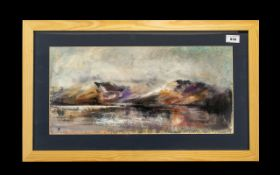 Hadrian Richards Oil Painting ' Mountains, Lake & Mist' dated 2011. Mounted and framed behind