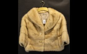Blonde Mink Ladies Capelet/Bolero approx size 12. Shawl collar style, with 3/4 sleeve length, with