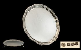 Top Quality Silver Footed Salver From The 1930's of Round Shaped Form with Piecrust Borders,