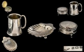 Antique Period Collection of Small Silver Items ( 3 ) In Total. Comprises 1/ A Small Silver Cup.
