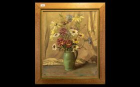 Still Life Oil Painting By T A CLARKE. Still life oil on canvas painted in pastel colours, housed in