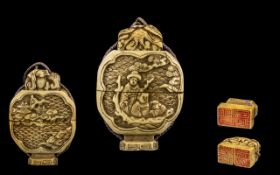 Antique Japanese Carved Ivory Three Case Inro, Of Shaped Form Carved In Relief Depicting Figures And