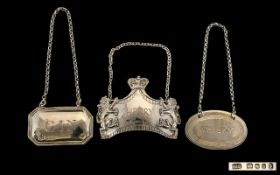 Collection of Sterling Silver Spirit Labels ( 3 ) All Fully Hallmarked Comprises 1/ Queen