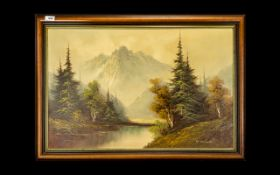 Ben Chipton Canadian Mountain Scene in Quebec Canada - signed by the artist to the bottom right. Oil
