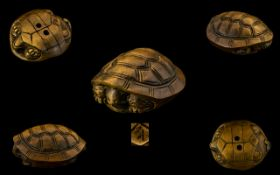 Japanese Meiji Period Well Carved Boxwood Netsuke of a turtle. Signed to underside.