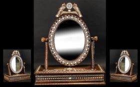 Anglo Indian - NIce Quality Toilet Table Mirror ( Adjustable ) with Pullout Drawer Below, Inlaid